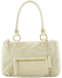 Linea Pelle Dylan Perforated Leather Duffle Bag Bone - Lyst
