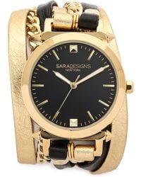 Sara Designs - Urban Spike Wrap Watch - Gold/black - Lyst