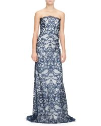 Monique Lhuillier Strapless Guipure Lace Gown - Lyst