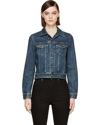 Saint Laurent Studded Denim Jacket - Lyst