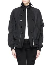 Sacai Double Breasted Peplum Back Bomber Jacket - Lyst