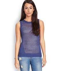 Forever 21 Open Knit Sleeveless Sweater - Lyst