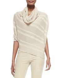 Donna Karan New York Striped Asymmetric Cowl-Neck Sweater - Lyst