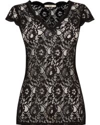 Oasis | Sheer Lace V Neck Top | Lyst