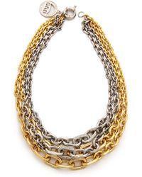Giles & Brother Two Tone Crystal Encrusted Link Necklace Goldrhodium - Lyst
