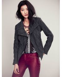 Free People Vegan Suede Moto Jacket - Lyst