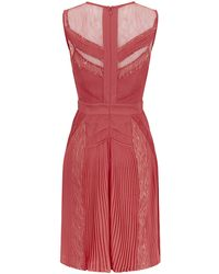 Class Roberto Cavalli Lace Panel Pleated Dress - Lyst