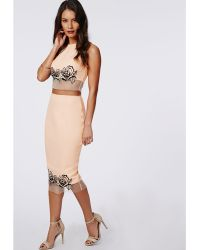 Missguided Fillie Rose Embroidered Mesh Hem Midi Skirt Blush - Lyst