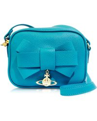 Vivienne Westwood Bow Turquoise Eco-Leather Mini Camera Bag - Lyst