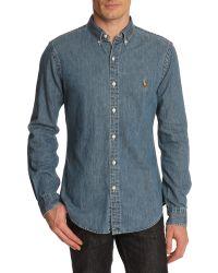Polo Ralph Lauren Slim Fit Raw Denim Shirt - Lyst