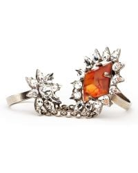 Dannijo Chain Link Double Crystal Ring - Lyst