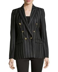 Versace Pinstripe Double-Breasted Blazer black - Lyst