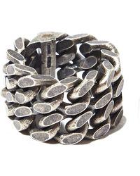 Saint Laurent - Mens Silver Double Chain Ring - Lyst