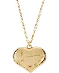 Roberto Coin - 18k Gold Love Plus Heart I Love You Necklace - Lyst