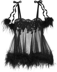 Agent Provocateur - Karlotta Feather-trimmed Leavers Lace And Tulle Chemise - Lyst