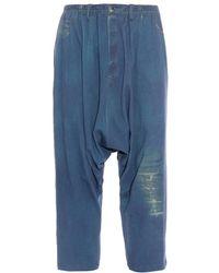 Yohji Yamamoto Drop-Crotch Denim Trousers - Lyst