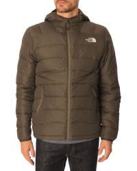 The North Face La Paz Khaki Hooded Down Jacket - Lyst