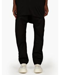 Rick Owens Mens Black Drawstring Trousers - Lyst