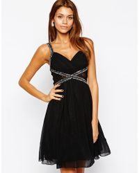 Little Mistress Lace Insert Embellished Prom Dress With Plunge Neck - Lyst