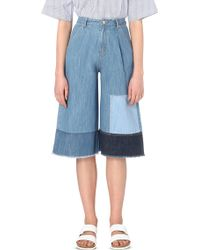Steve J & Yoni P - Patchwork-detail Wide Cropped High-rise Culottes - Lyst