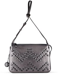 DKNY Tumbled Leather Studded Crossbody - Lyst