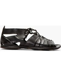 Alexander McQueen Black Leather Mid Top Lace Up Sandals - Lyst