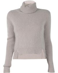 Band of Outsiders Cropped Turtleneck With Tilted Side Seams beige - Lyst
