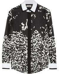 Preen Scott Leopard-print Silk-satin Shirt - Lyst