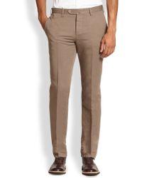 Pt01 Pantaloni Torino Flat-Front Linen & Cotton Trousers - Lyst