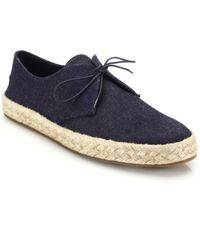 Burberry Collingdon Denim Espadrille Lace-Up Flats - Lyst