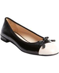 Prada Black and Rose Patent Leather Cap Toe Ballerina Flats - Lyst