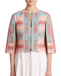 BCBGMAXAZRIA Zachary Printed Cape Jacket blue - Lyst
