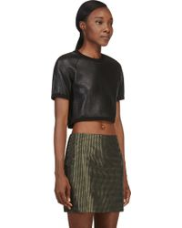 Denis Gagnon - Black Grained Leather Cropped T_Shirt - Lyst