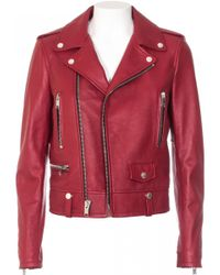 Saint Laurent Red Leather Biker Jacket red - Lyst