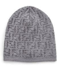 63de66413be Lyst - Fendi Wool-blend Knit Hat in Gray for Men
