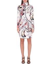Emilio Pucci Turtleneck Printed Silk Dress Grey - Lyst