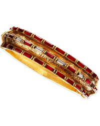 Jose & Maria Barrera Red Crystal Baguette Gold-Plate Bangle - Lyst