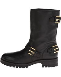 Pierre Balmain Leather Moto Boot with Buckles - Lyst