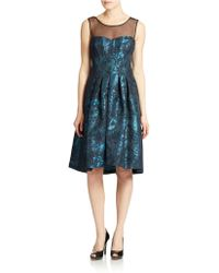 Vera Wang Illusion Neck Fit And Flare Dress - Lyst