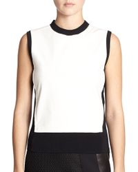 Reed Krakoff Leather-Front Crewneck Top - Lyst