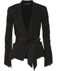 Donna Karan New York Belted Lace And Linen-Blend Blazer - Lyst