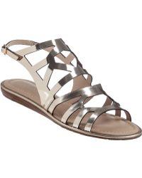 Kate Spade Aster Flat Sandal Metallic Mushroom Leather - Lyst