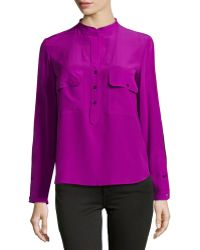 Stella McCartney Long-Sleeve Silk Contrast Blouse - Lyst