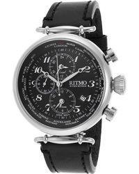 Ritmo Mundo | Men's Corinthian World Timer Chrono Black Genuine Leather And Dial | Lyst