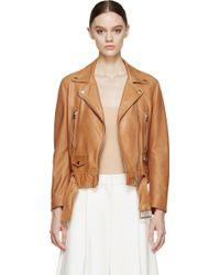 Acne Studios Caramel Brown Leather Mock Biker Jacket - Lyst