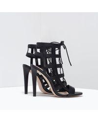 Zara Leather High Heel Wraparound Sandals - Lyst
