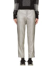 Rag & Bone Silver and Black Tweed Classic Trousers - Lyst