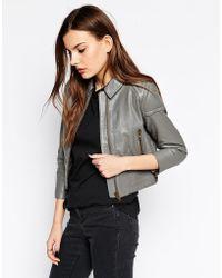 Ganni - Leather Biker Jacket - Lyst