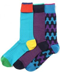 Duchamp Three Pack Of Patterned Socks - Lyst