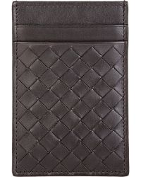 Bottega Veneta Intrecciato Money Clip Card Case brown - Lyst